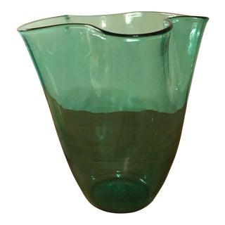 Blenko Style Green Art Glass Vase