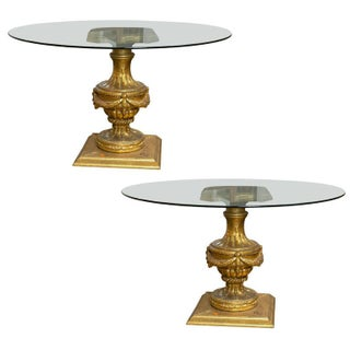 Louis XVI Style Glass Top Center Tables - Pair