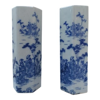 Chinese Mudmen & Bamboo Hexagonal Blue and White Vases - Pair