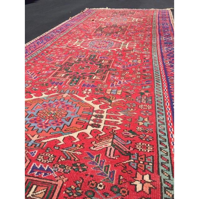"Vintage Heriz Persian Red Runner - 4'6"" x 12'3"" - Image 4 of 11"