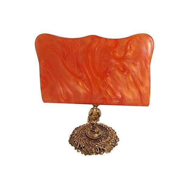 Image of Gold-Tone Cherub & Lucite Letter Holder