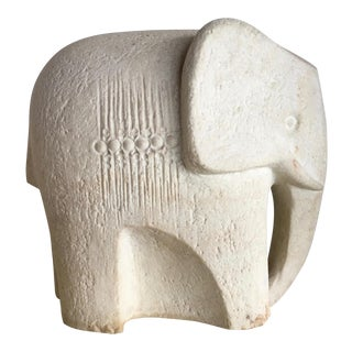 Stone Modernist Sculpted Elephant