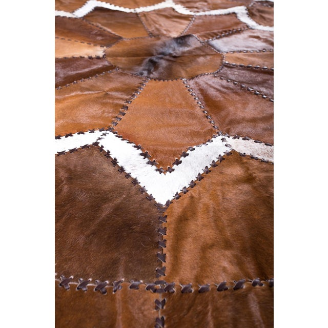 Image of European Design Patchwork Cowhide Rug - 6' X 6' / Hair-On-Hide / Brand New