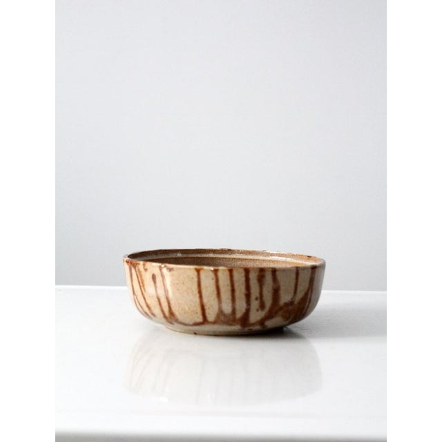 Image of 1970s Brown Glazed Pottery Bowl