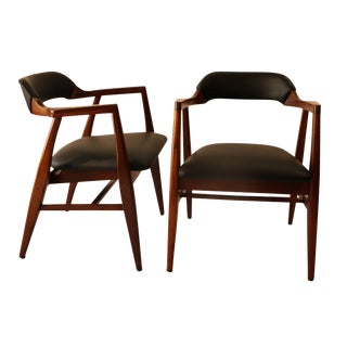 Mid Century Modern Leather Side Chairs - a Pair