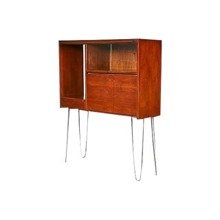 1960s Walnut Cabinet with Hairpin Legs