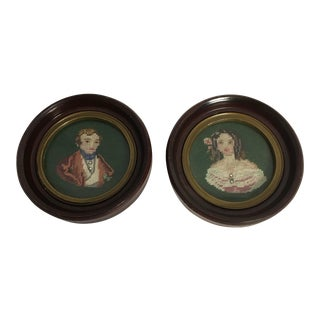 Miniature Framed Portrait Needlepoint Picture - A Pair