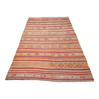 "VIntage Turkish Kilim Rug - 5'7"" X 9'6"""