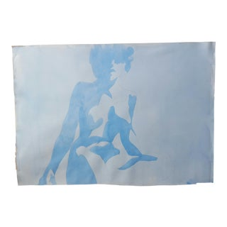 Blue Abstract Nude Drawing