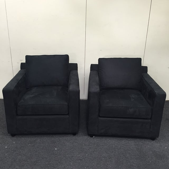 Crate & Barrel Black Microsuede Armchairs - A Pair - Image 4 of 7