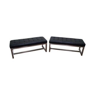 Mid-Century Leather & Chrome Benches - A Pair