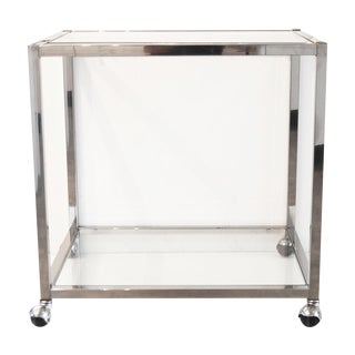 Milo Baughman Style Chrome Bar Cart