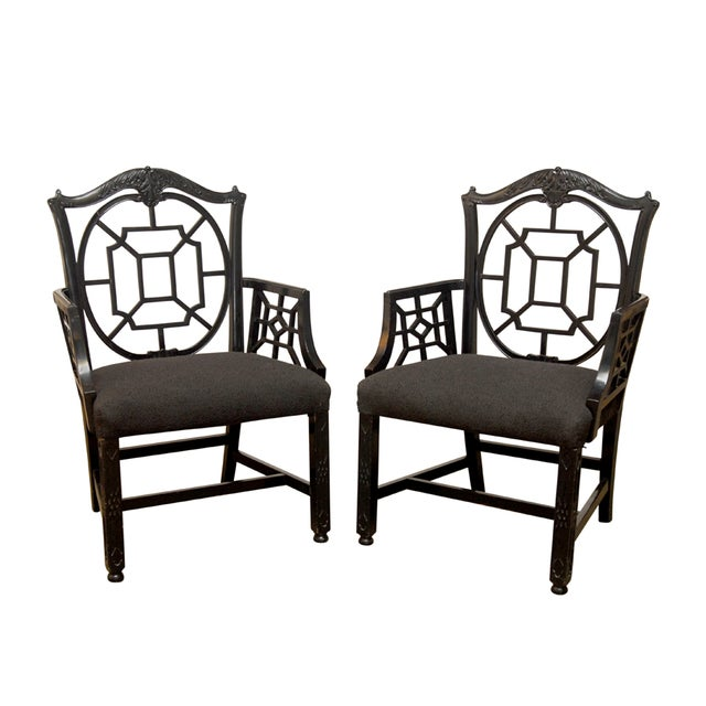 Black Lacquer Chinese Chippendale Armchair - Pair - Image 1 of 7