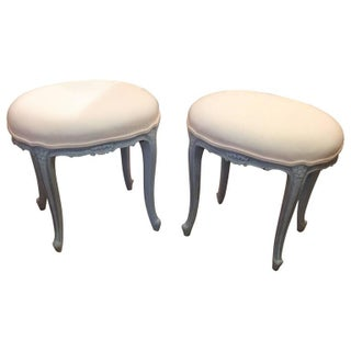 French Louis XV Style Painted and Upholstered Ottoman Stools - A Pair