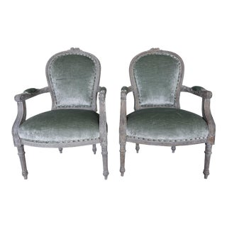 Louis XVI Style French Painted Armchairs - A Pair