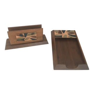 Vintage Wood and Glass Desk Accessories - Set of 2