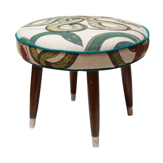Snake Upholstered Footstool - Image 1 of 6