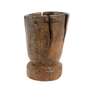Vintage Moroccan Wood Mortar