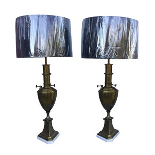 Vintage 1960s Brass Table Lamps - A Pair
