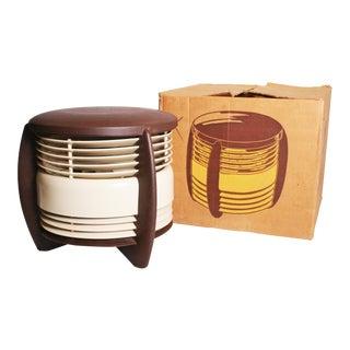 Mid Century Modern Hassock Stool Fan with Original Box