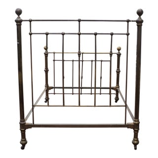 Antique Victorian Ornate Brass and Metal Bed