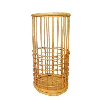 "Vintage Bamboo & Rattan Umbrella Stand 24"" Franco Albini Style"