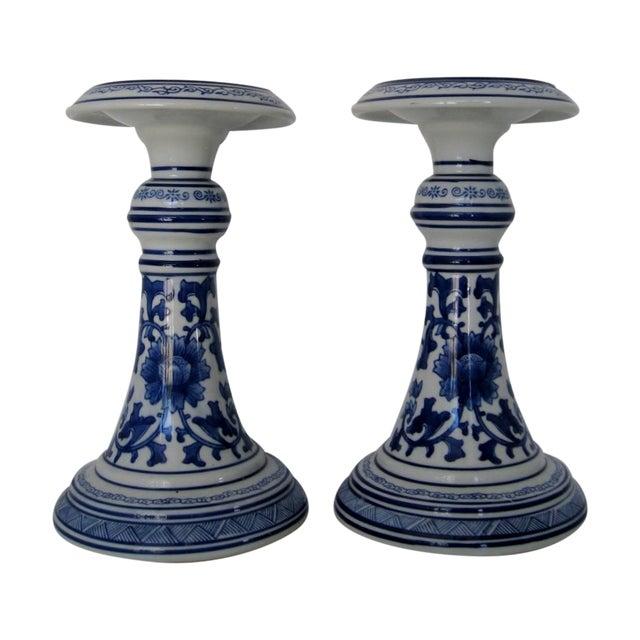 Oversize Porcelain Candlesticks - a Pair - Image 1 of 5