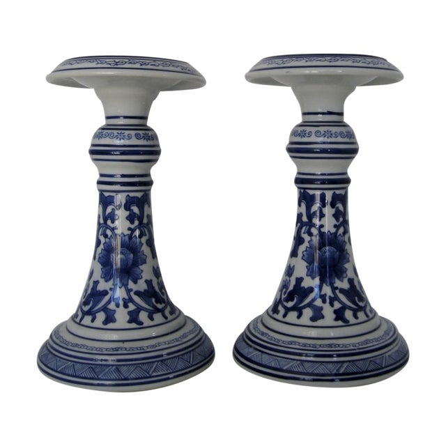 Image of Oversize Porcelain Candlesticks - a Pair