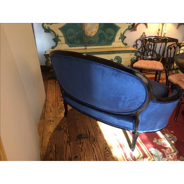 French Royal Blue Velvet & Black Laquer Loveseat - Image 6 of 7