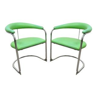 Mid Century Modern Anton Lorenz Green Chrome Cantilever Chairs - A Pair