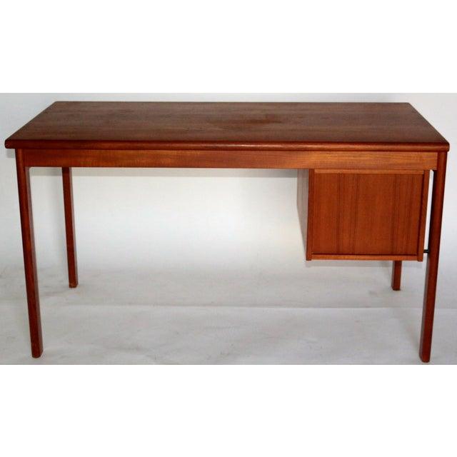 Lovig Sliding Top Teak Desk With Three Drawers - Image 4 of 9