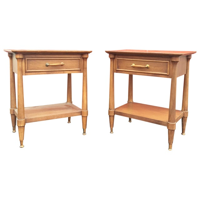 Mid-Century End Tables With Single Drawer - Pair - Image 1 of 12
