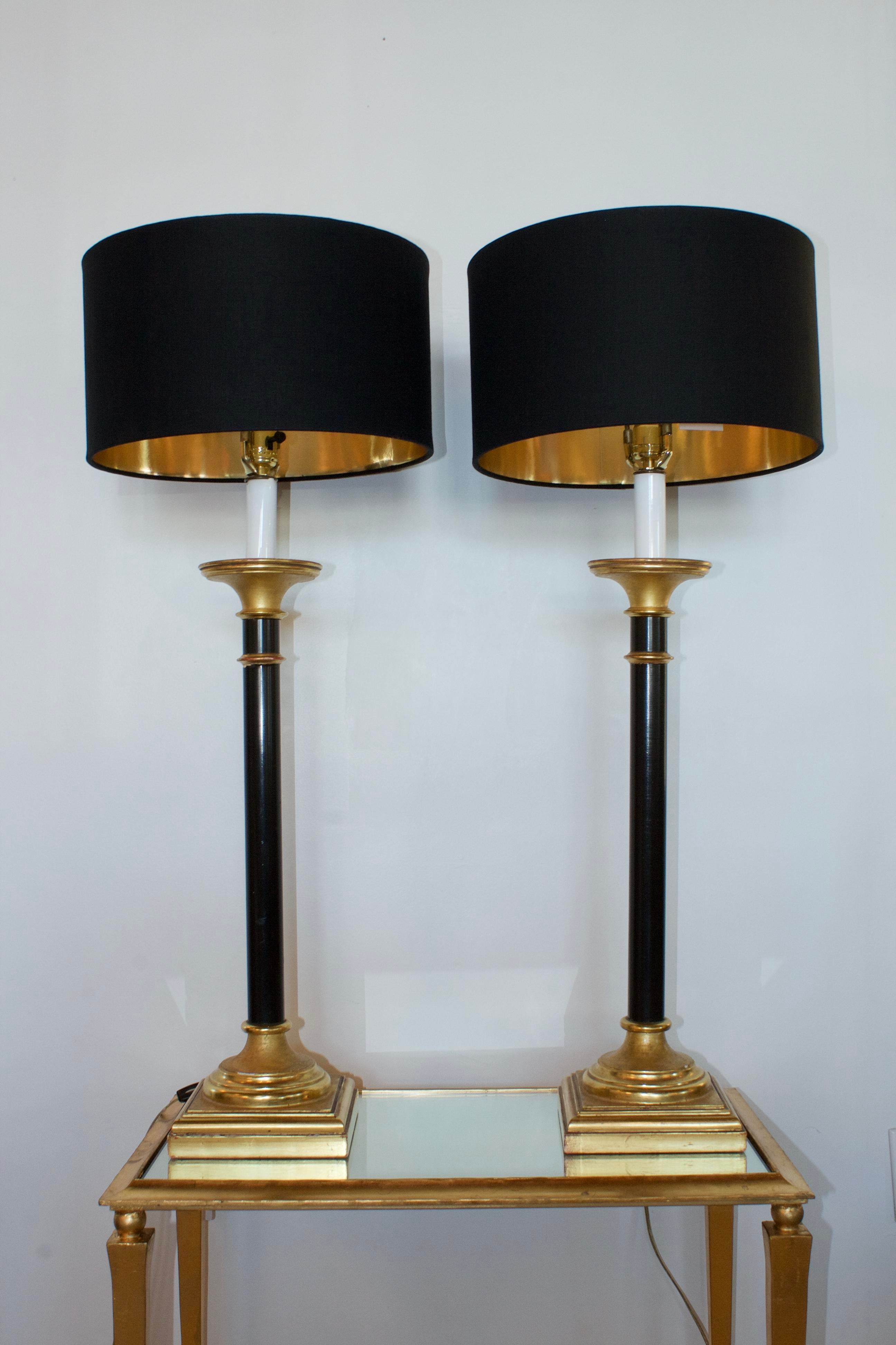 Vintage Curry Black Gold Buffet Lamps A Pair Chairish