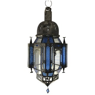 Moroccan Blue & Clear Glass Lantern