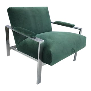 1970s Milo baughman Style Flat Bar Lounge Chair