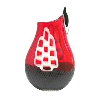 Alberto Dona 1980s Modern Sculpture Red Black White Murano Glass Vase