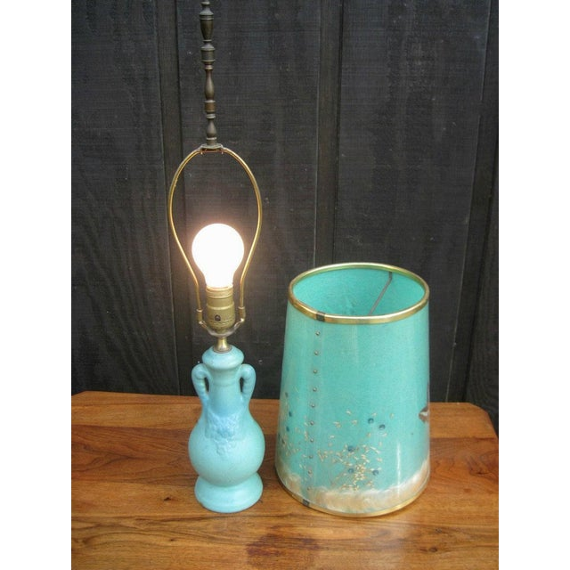 Van Briggle Turquoise Butterfly Lamp - Image 7 of 8