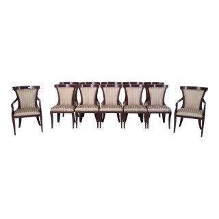 John Widdicomb Regency Upholstered Dining Chairs - Set of 12