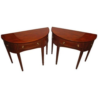 Baker Inlaid Demilune Consoles - A Pair