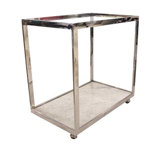Milo Baughman Chrome and Marble Barcart