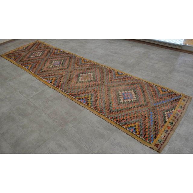 "Turkish Oushak Handmade Cotton Kilim Runner Rug - 3'2"" x 12'4"" - Image 2 of 10"