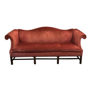 Hickory Chair Camel Back Velvet Sofa