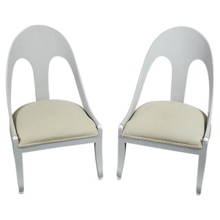 Custom Contemporary Grey Arched Chairs - Pair