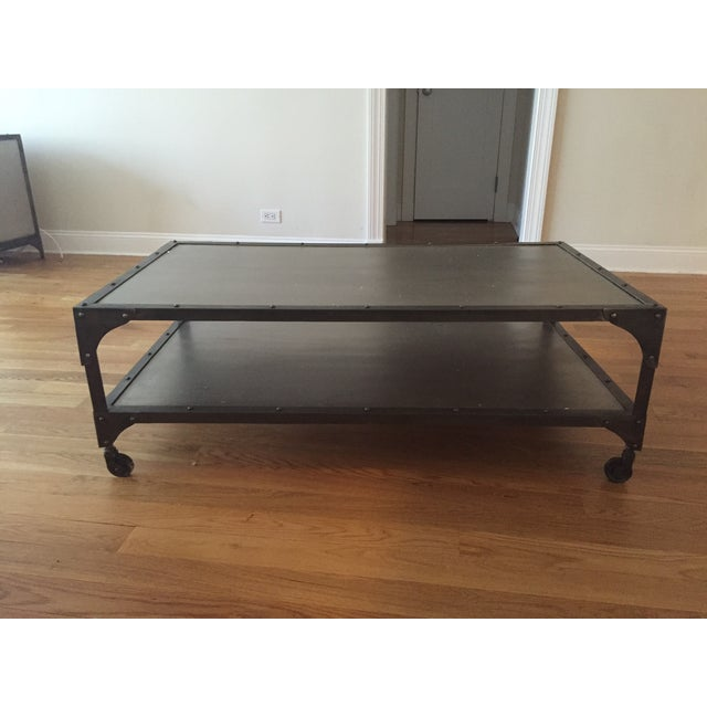 Industrial metal coffee table chairish Industrial metal coffee table