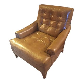 Vintage Mid-Century Heritage Tufted Caramel Leather Club Chair