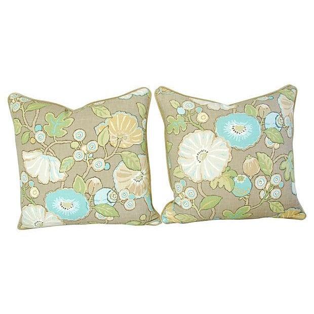 Image of Designer Linen/Velvet Floral Pillows - A Pair