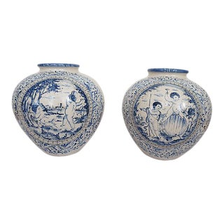 Large Italian Blue and White Teracotta Faience Floor Vases - a Pair