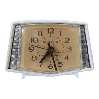 Mid Century White Alarm Clock