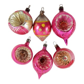 Hot Pink Vintage Blown Glass Christmans Ornaments - Set 5