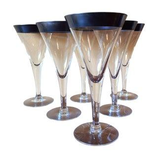 Dorothy Thorpe MCM Sterling Rim Goblets - Set of 6